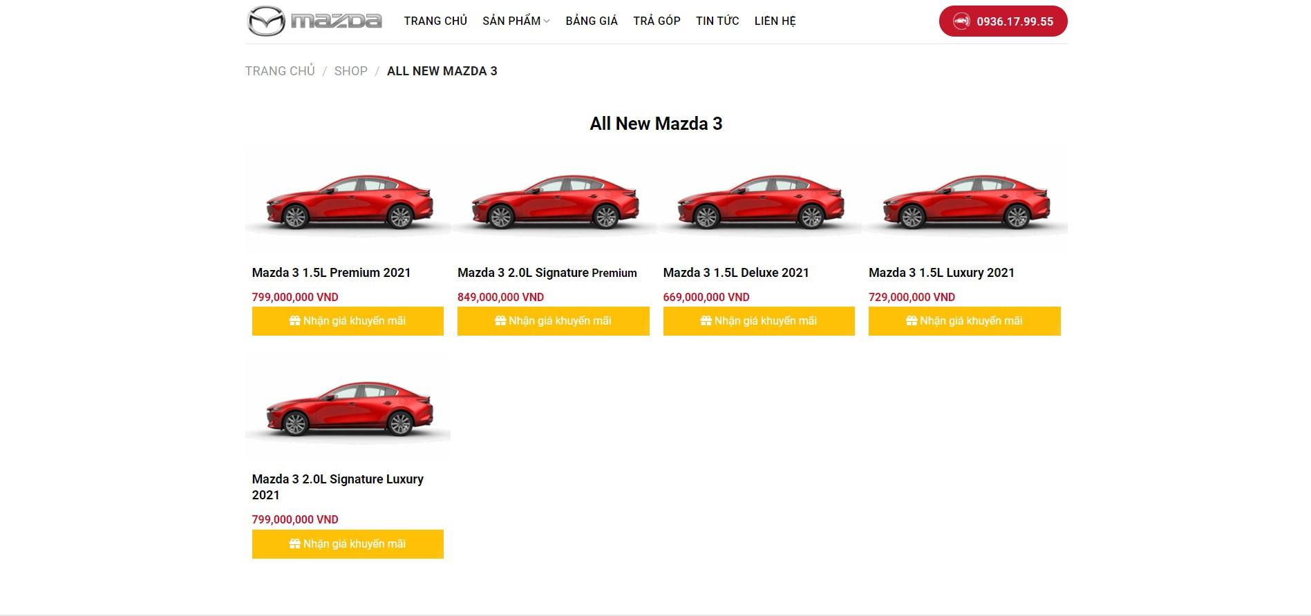 Trang sản phẩm Website ô tô Mazda