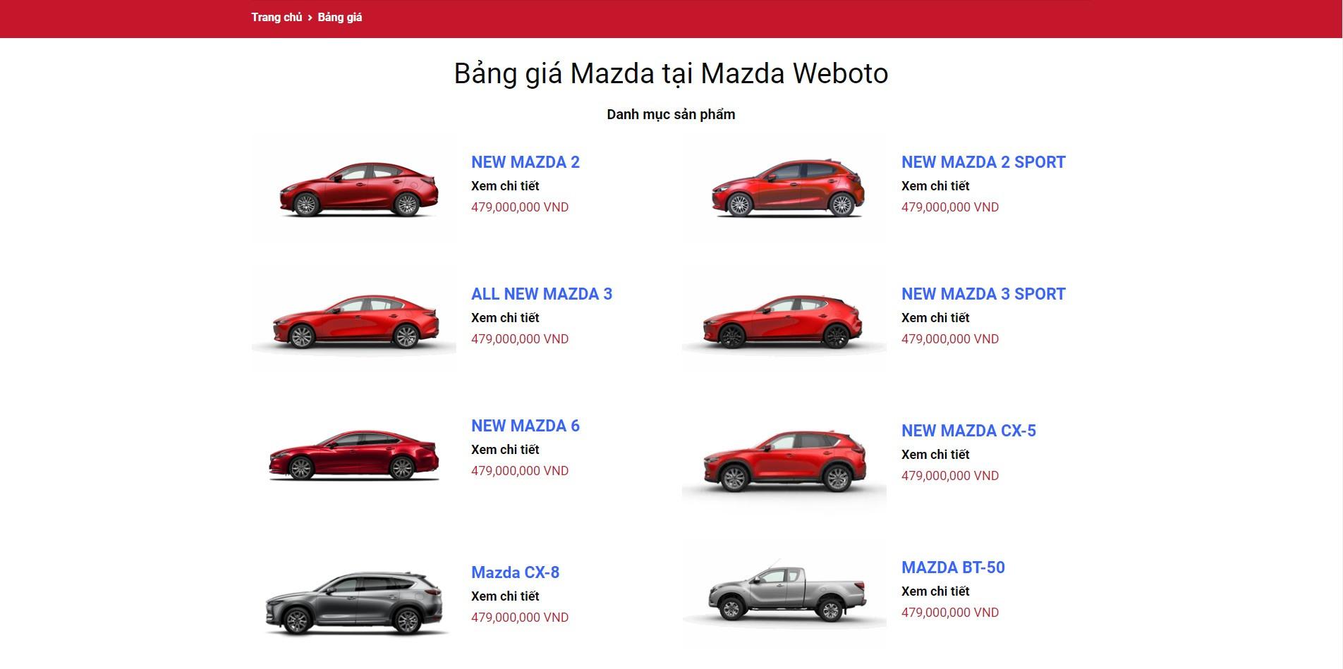 Trang bảng giá Website ô tô Mazda