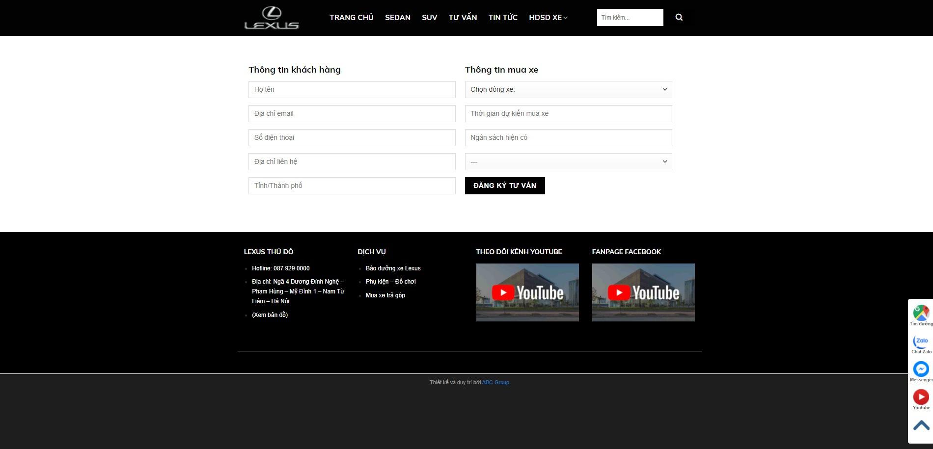 Trang đăng ký lái thử của Website ô tô Lexus