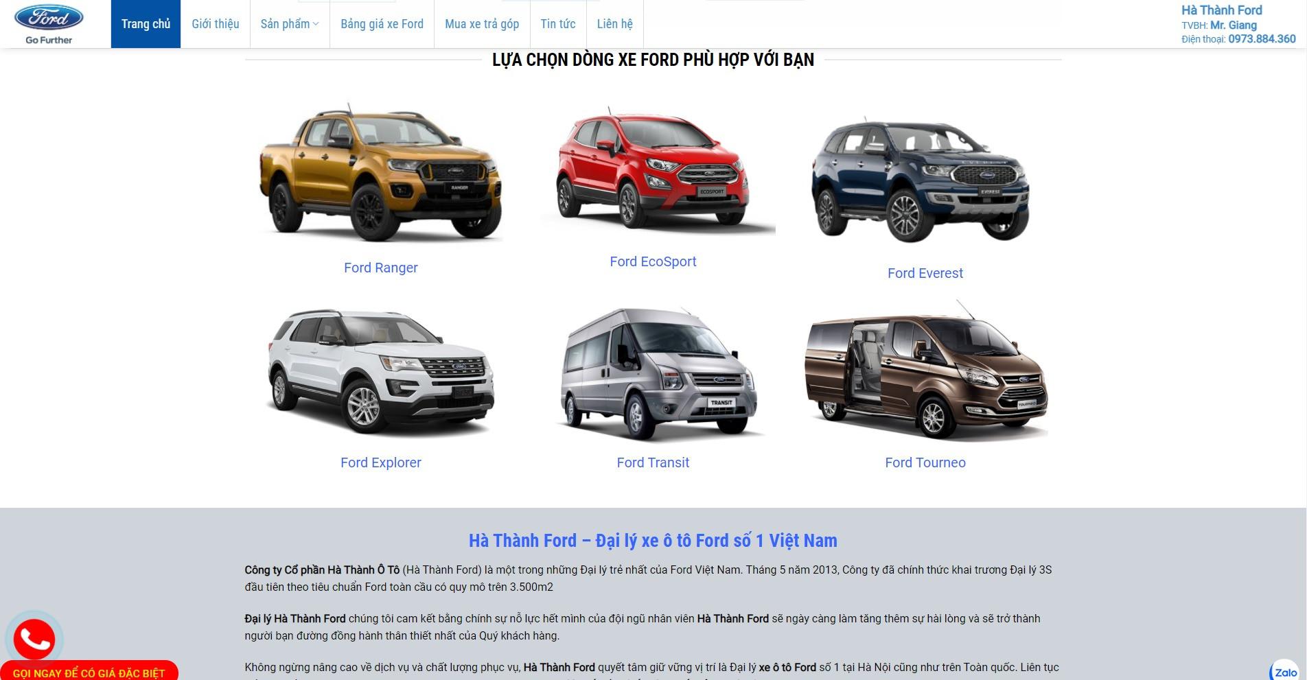 Phần sản phẩm của trang chủ Website ô tô Ford Hà Thành