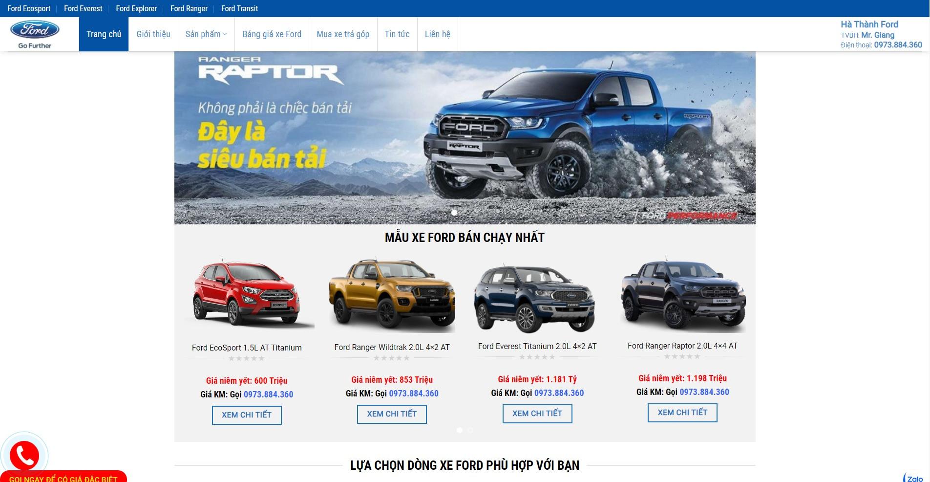 Trang chủ Website ô tô Ford Hà Thành
