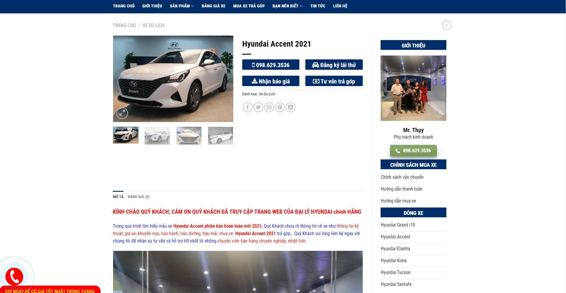 Trang chi tiết sản phẩm Hyundai Accent