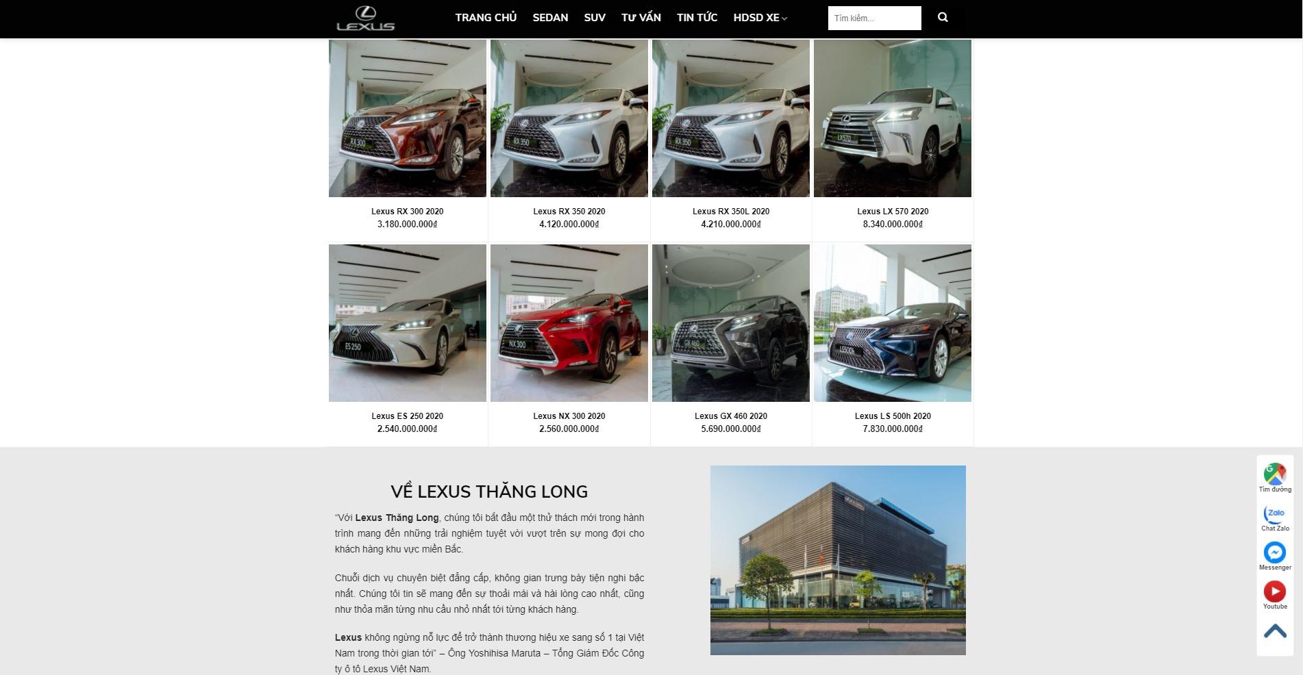 Mục sản phẩm ở trang chủ Website ô tô Lexus