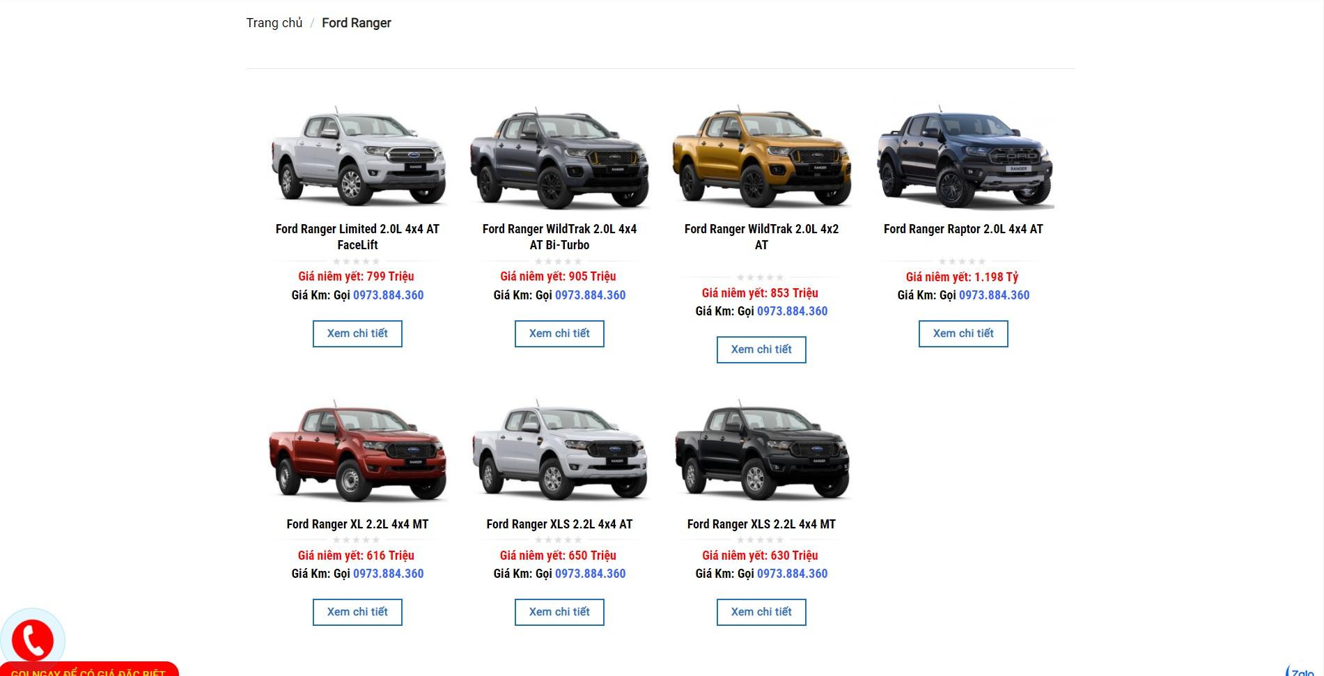Trang danh sách sản phẩm của dòng Ford Ranger