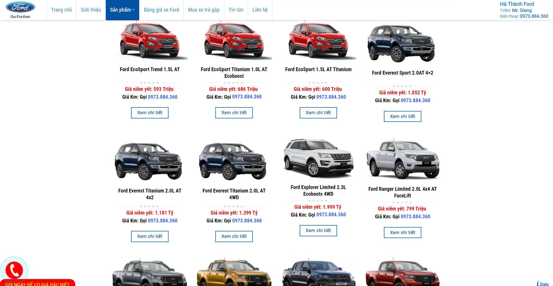 Trang danh sách tất cả các sản phẩm của Website ô tô Ford