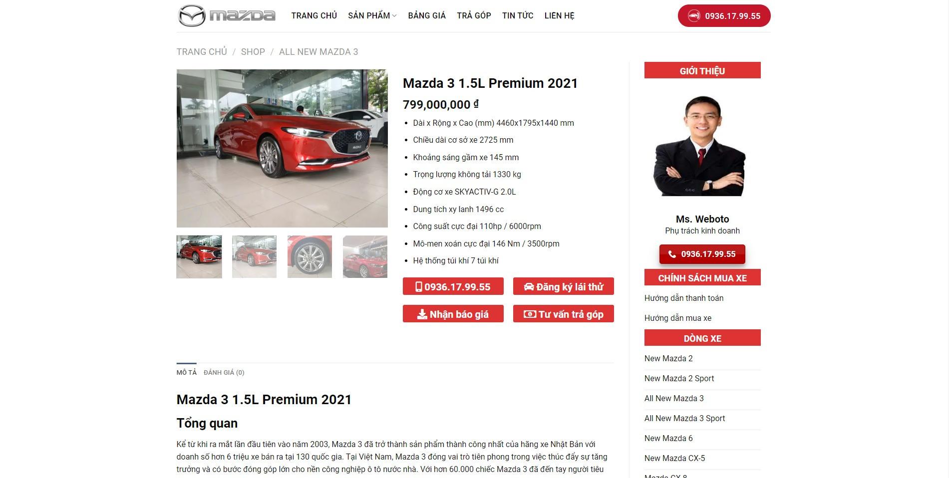 Trang chi tiết sản phẩm Mazda 3 của Website ô tô Mazda