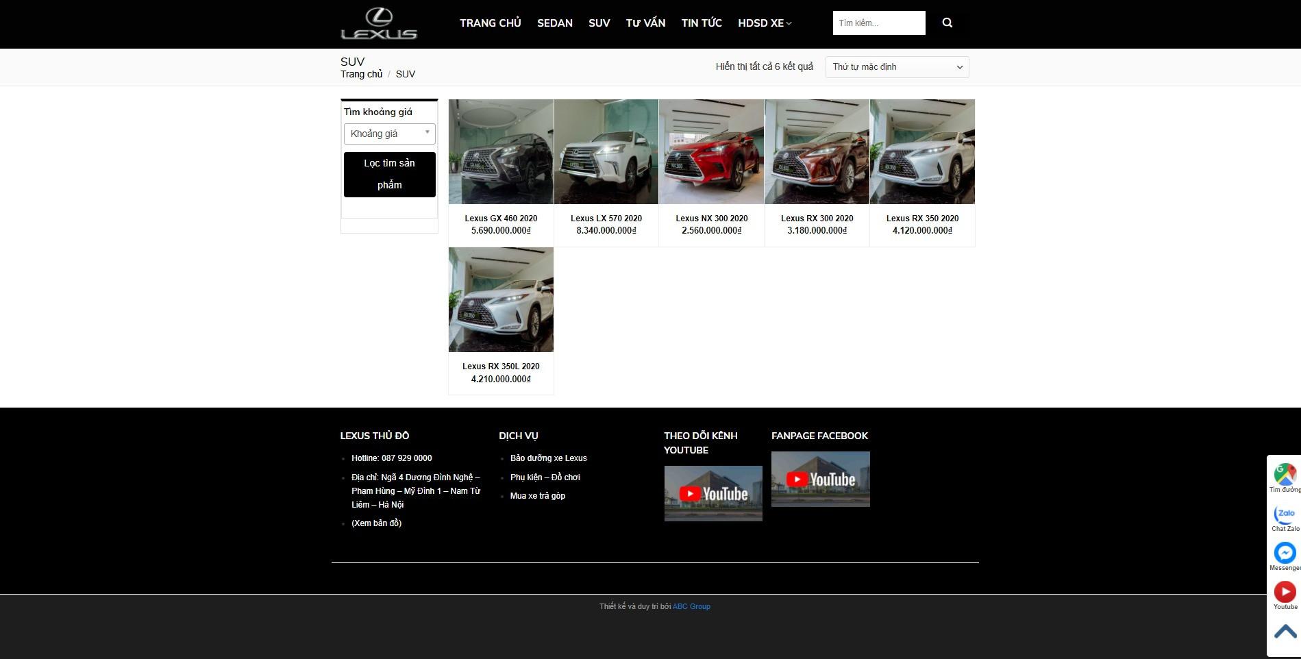 Trang danh mục sản phẩm của dòng SUV Lexus
