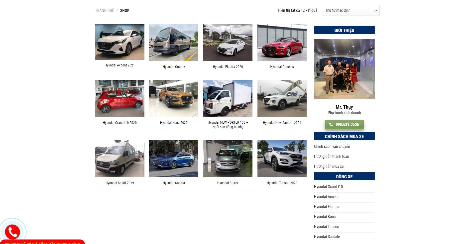 Trang sản phẩm Website ô tô Hyundai Phạm Văn Đồng