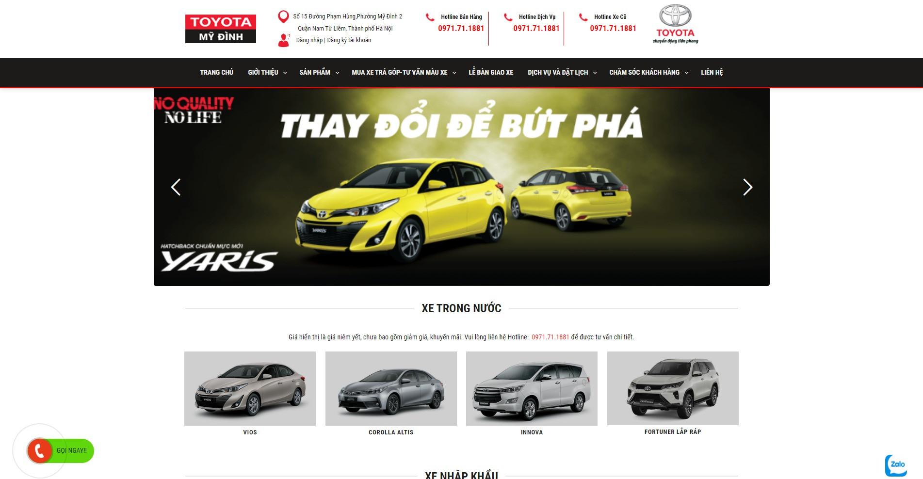 Website ô tô Toyota Mỹ Đình được Weboto thiết kế cực chất lượng