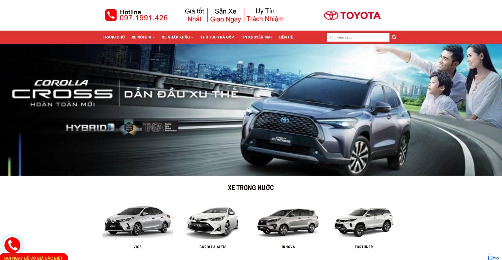 Website ô tô Toyota giá tốt được Weboto thiết kế chất lượng hình ảnh sắc nét