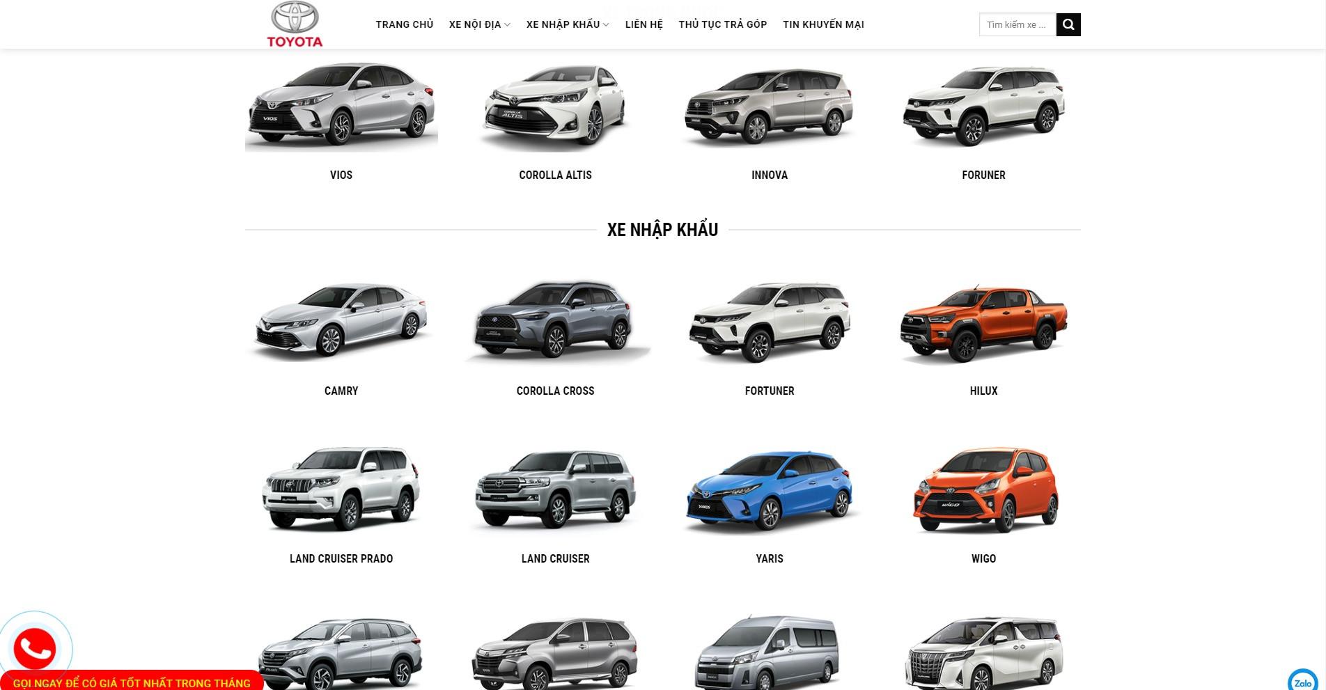 Trang chủ của Website ô tô Toyota Mỹ Đình