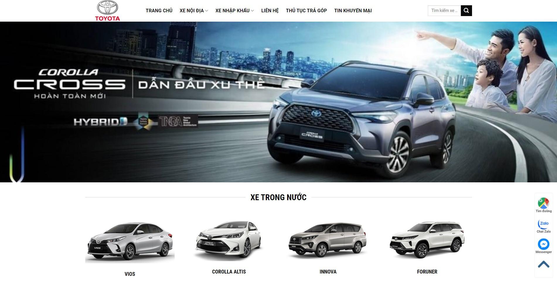 Website ô tô Toyota cực đẹp đầy đủ nội dung sản phẩm