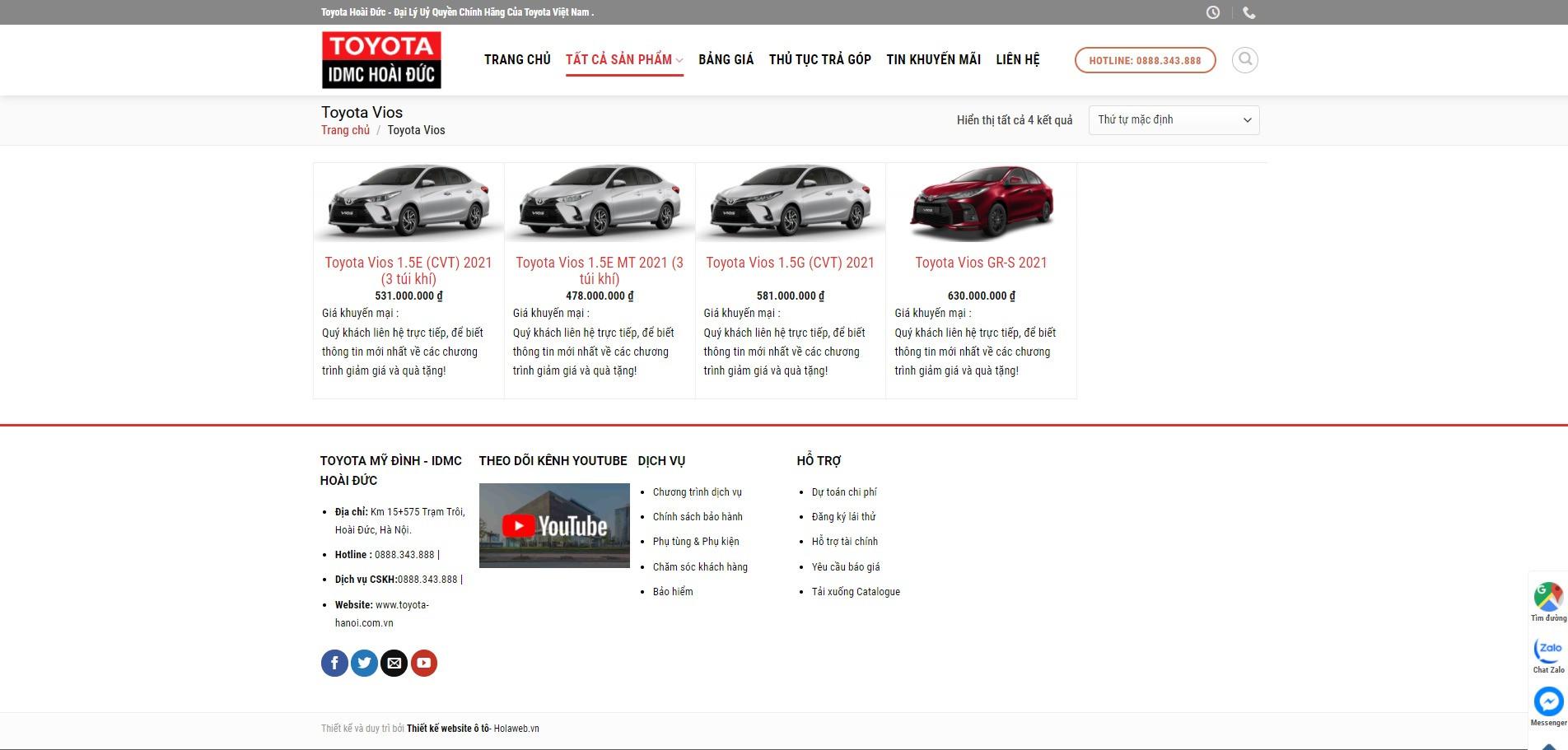 Trang danh mục các sản phẩm của Website ô tô Toyota Hoài Đức
