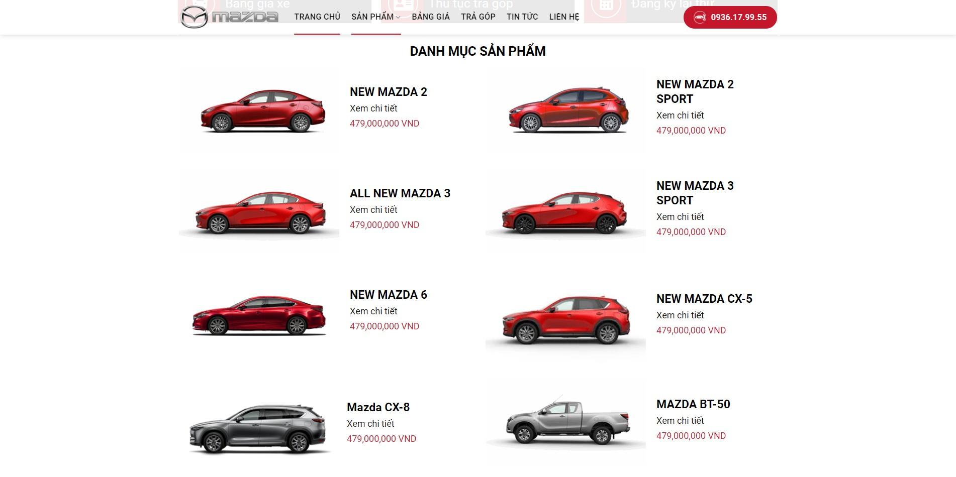 Mục sản phẩm các dòng xe của Mazda