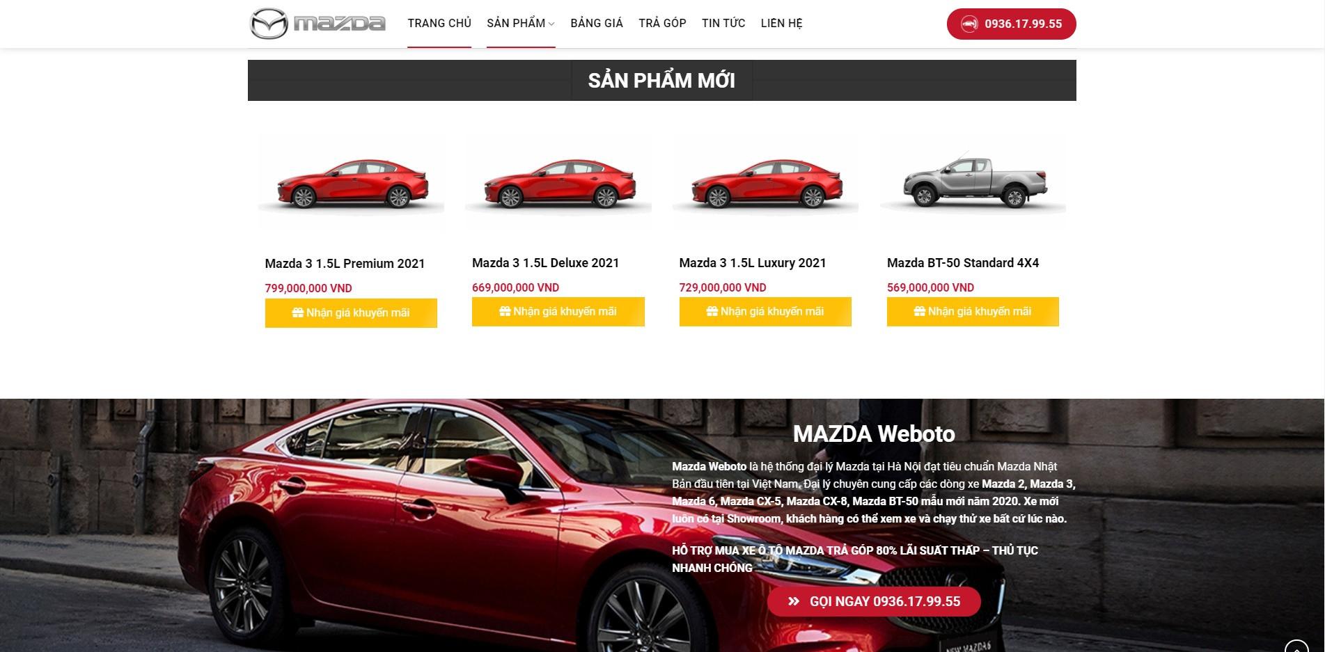 Mục sản phẩm mới ở trang chủ Website ô tô Mazda