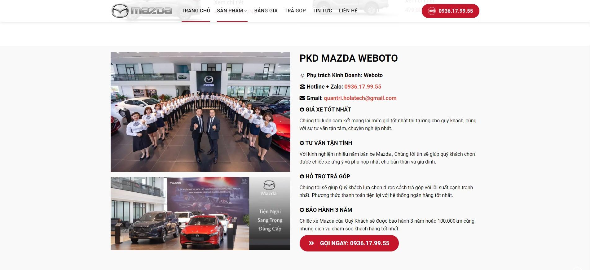 Phần giới thiệu về Website ô tô Mazda ở trang chủ