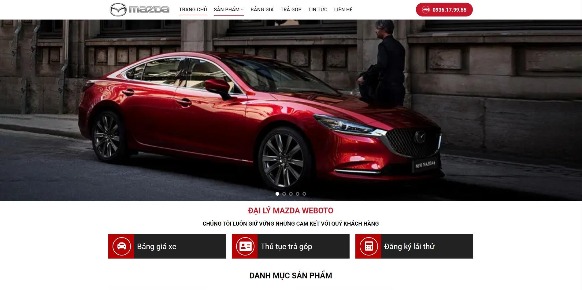 Trang chủ Website ô tô Mazda thiết kế bởi Weboto