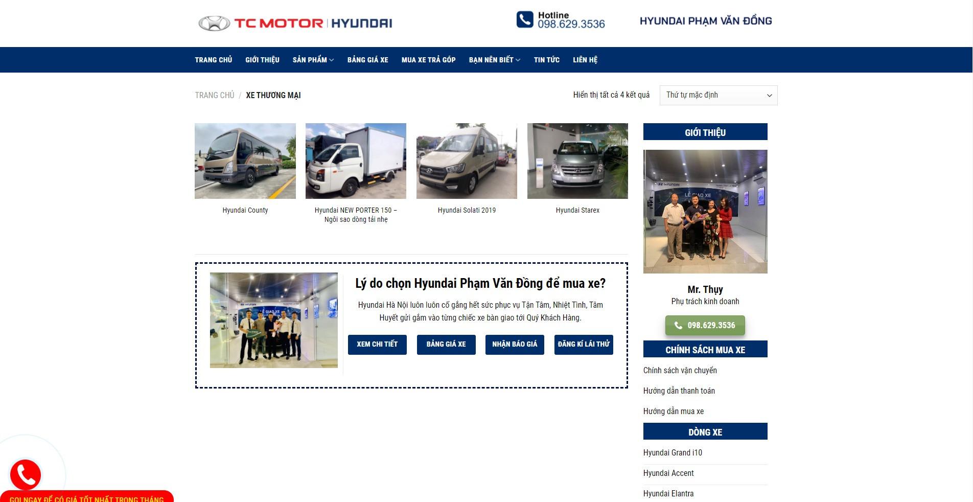 Trang danh mục các sản phẩm xe thương mại Hyundai