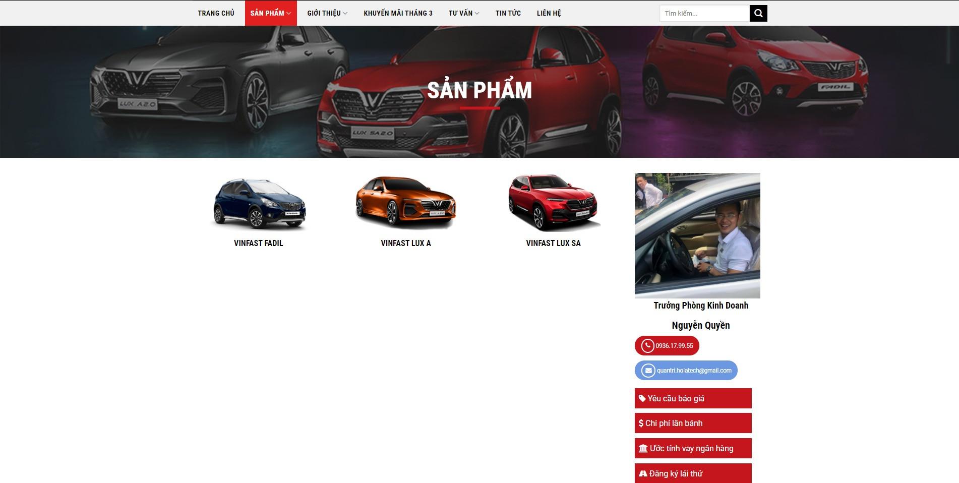 Trang danh mục sản phẩm của Website ô tô Vinfast